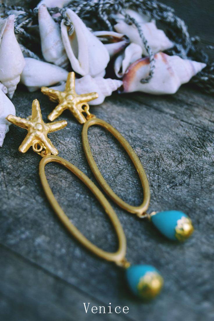 Orecchini ottone stella marina/orecchini stella/orecchini pendenti/orecchini agata/orecchini perno/gioielli stella/gioielli boho/regalo di VeniceStyle su Etsy