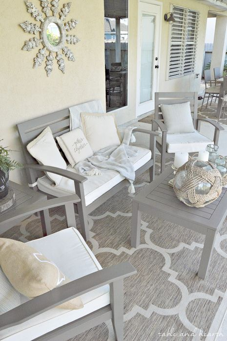 How to Refinish a Patio Set - Have a worn and weathered wooden patio set that needs some love? Check out this great tutorial on how to make it look new again! www.tableandhearth.com