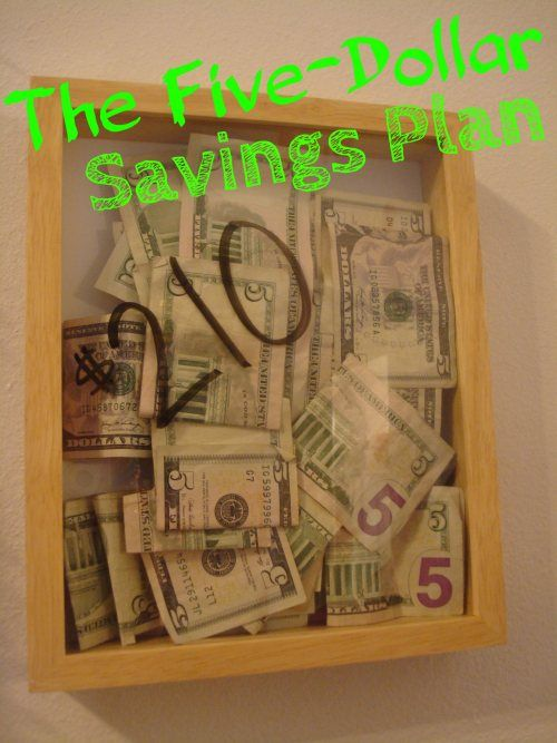 The Five-Dollar Savings Plan! Basically, every time you have a $5 bill, you save it, and then you buy yourself something at the end of the year! Love that it's visual