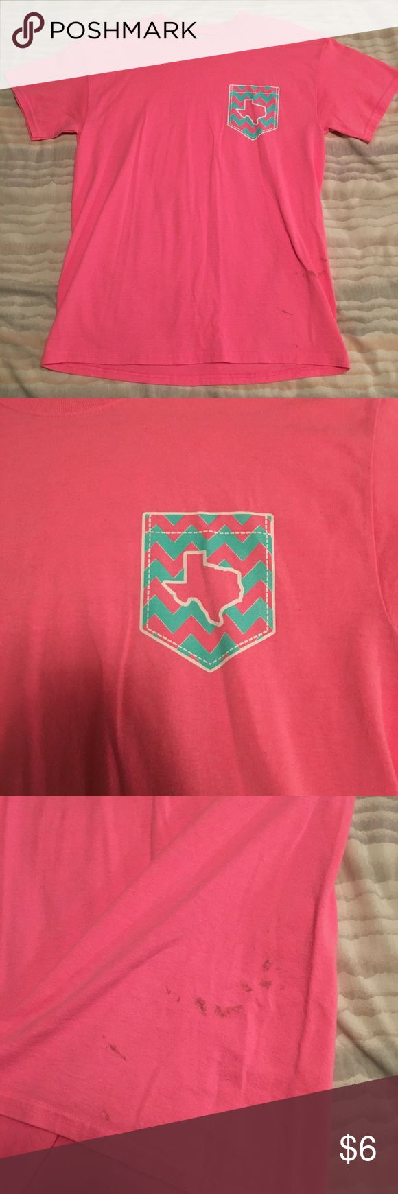 Hot pink Texas Tee Shirt! Please see photos! The lower front of the shirt has some staining. Price reflects it! Someone more talented than myself could get them out easily. Size Medium. By Gildan. Thanks for looking! Bundle and save! Gildan Tops Tees - Short Sleeve