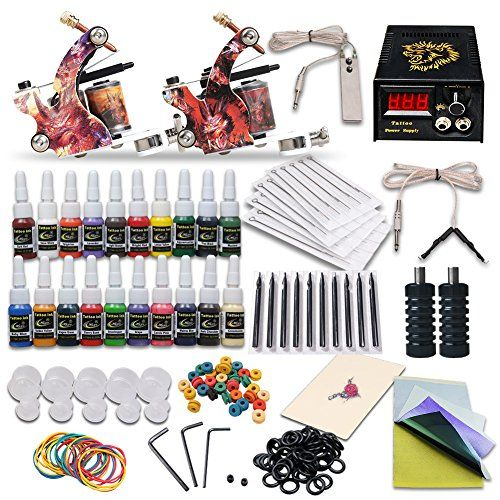 Complete Tattoo Kit 2 Machine Tattoo Gun Power Supply Needles 20 Inks L3  Two tattoo machine both for 10 wraps  A set of LED digital tattoo power supply with foot pedal and clip cord  20 color ink  Any other accessories make the whole kit completely