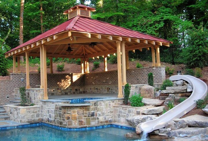 588 best images about gazebo on pinterest for Pool design with gazebo