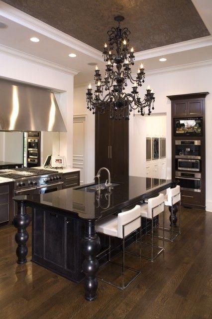 Sleek contemporary kitchen. Wonderful ceiling detail.