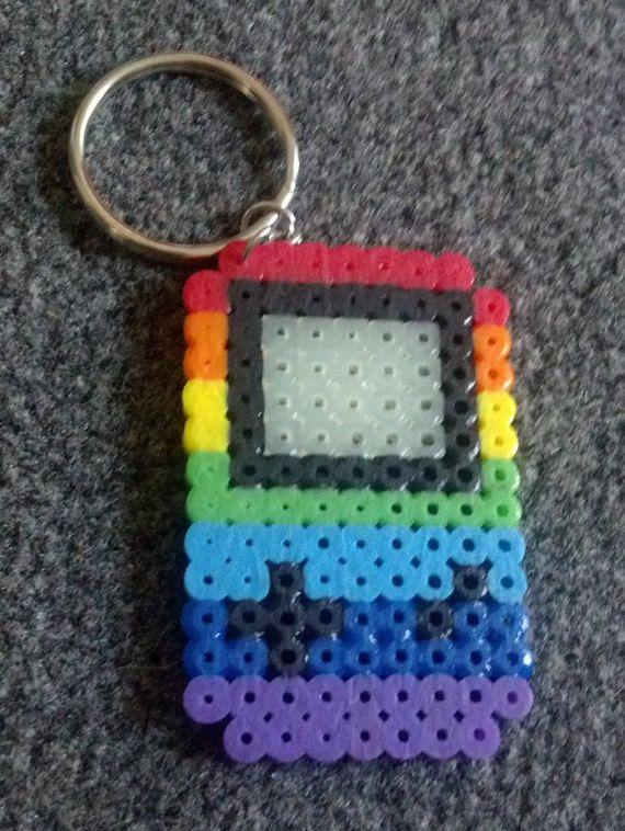 Pride Flag Gameboy Perler Bead Keychain by CharlieSellsStuff