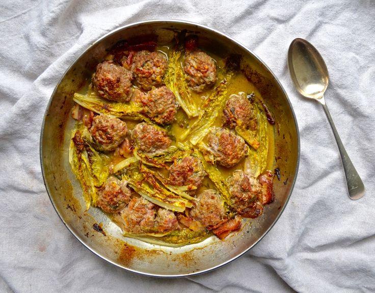 Braised Gem Lettuce and Meatballs