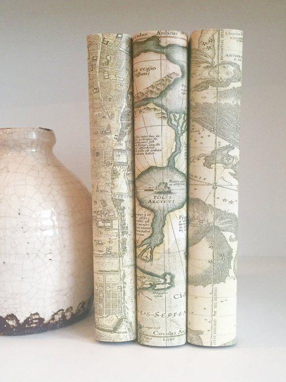 Vintage Maps Decorative Books Custom Book Covers Neutral Etsy Book Decor Vintage Maps Custom Book Covers