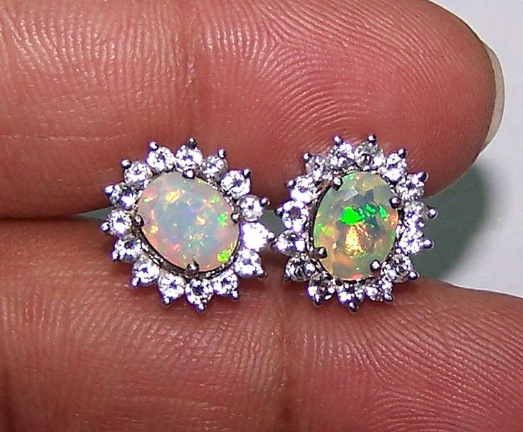 2.88 Cts Insane Rainbow Fire Faceted Ethiopian Opal & White Topaz Silver Earring #MyJewelryAffair #Cluster