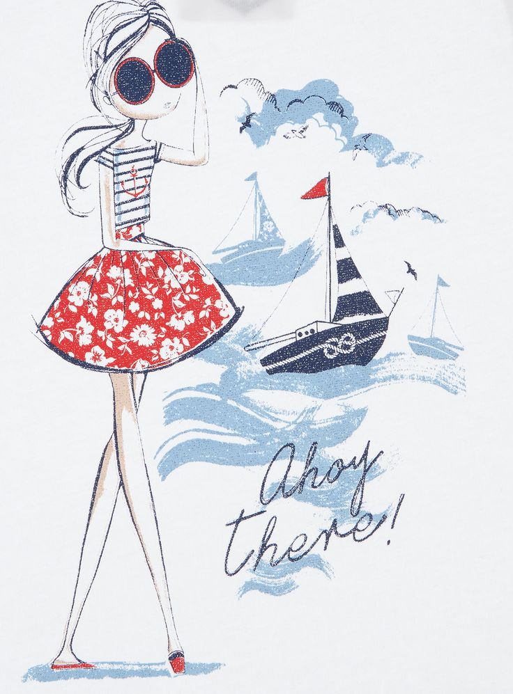 Add some nautical style to her wardrobe with this glitter print tee, perfect for summer dressing. Girls white glitter top Short capped sleeve Split side hem Nautical glitter design Keep away from fire