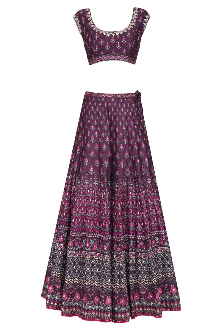 Purple Mughal Floral Lehenga set available only at Pernia's Pop Up Shop.