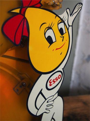 ESSO goutte d'huile ancienne Tole publicitaire année 1962