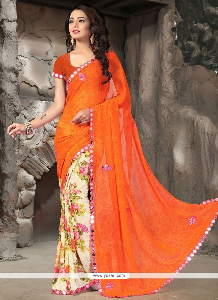 Haute Faux Georgette Patch Border Work Printed Saree Model: YOSAR12191