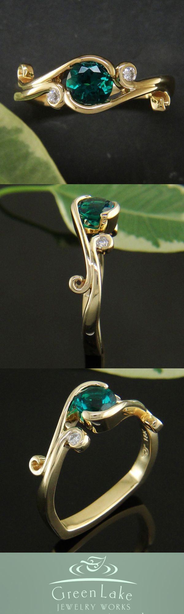 18k yellow gold and emerald engagement ring. I don't usually like gold, but this is pretty