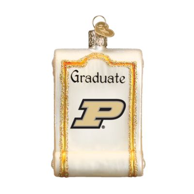 """Purdue+Diploma+Christmas+Ornament+63112+Merck+Family's+Old+World+Christmas+Size:+3.25""""+Introduced+2016+Material:+Mouth+blown,+hand+painted+glass+Prepackaged+box+"""
