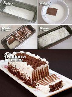 ༺ GizemliM ༻ Bisküvili Çizgili Pasta Tarifi