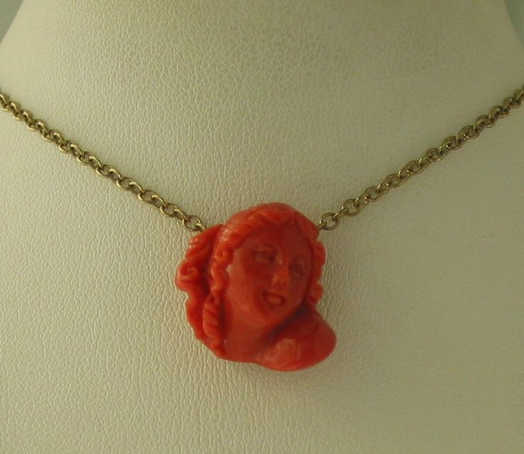 Antique 9ct Gold Carved Natural Coral Necklace - sold