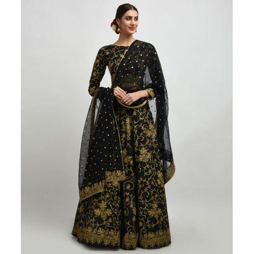 41f0d84f9518f0 Black Gold Tilla Embroidered Pure Raw Silk Lehenga Dress in 2019 ...