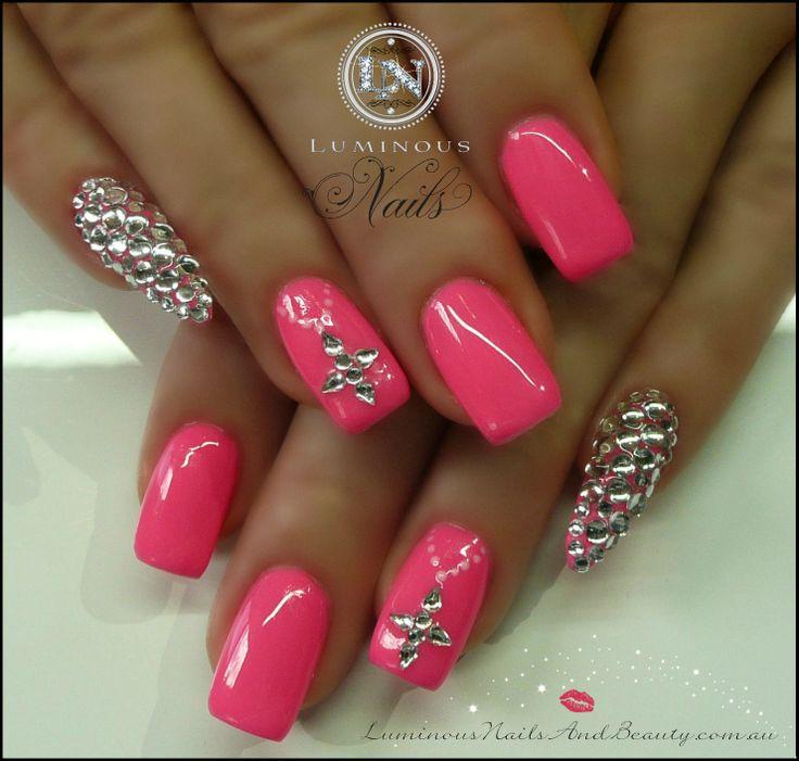 Luminous Nails: Hot Pink Nails with Crystal Stiletto Pinkies!