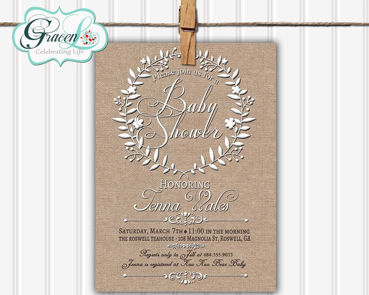 Baby Shower Invitation Rustic Baby Shower by GracenLDesigns