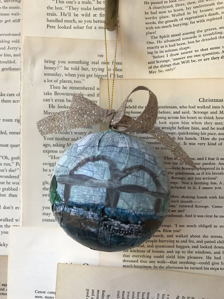 Pau Map%0A Memphis Bridge Ornament by Dorothy Collier with a vintage map hand painted  one of a kind