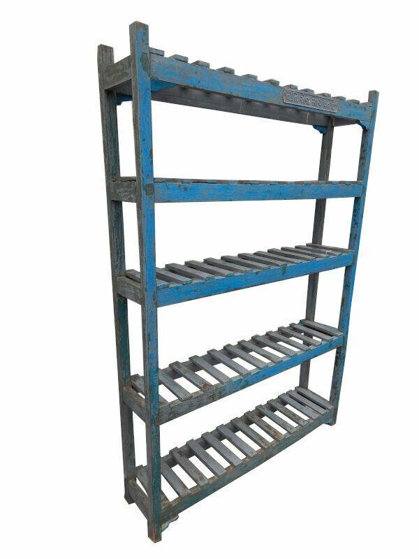 Etagere Bleue Meuble Haut Etroit 5 Tablettes Teck Piece D 039 Origine 137x29x198cm Home Decor Decor Shelves