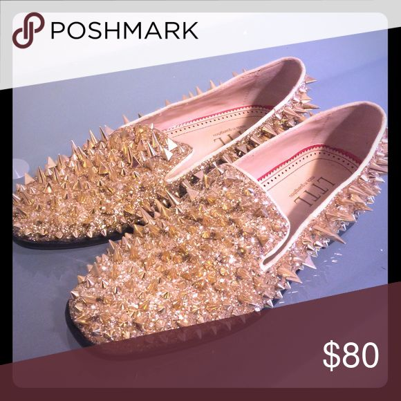 Gold Spiked Men's Loafers Gold Loafers with Spikes Shoes Loafers & Slip-Ons