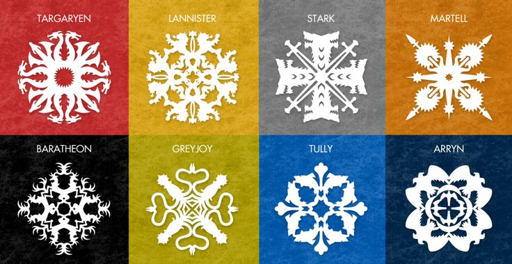 Free snowflake patterns inspired by Game of Thrones
