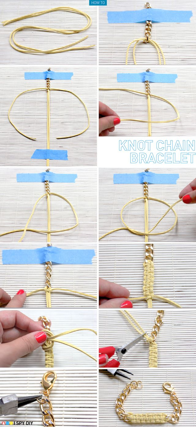 Now I know what to do with all of my StyleMint leather cording  http://www.ispydiy.com/2012/07/my-diy-knot-chain-bracelet.html
