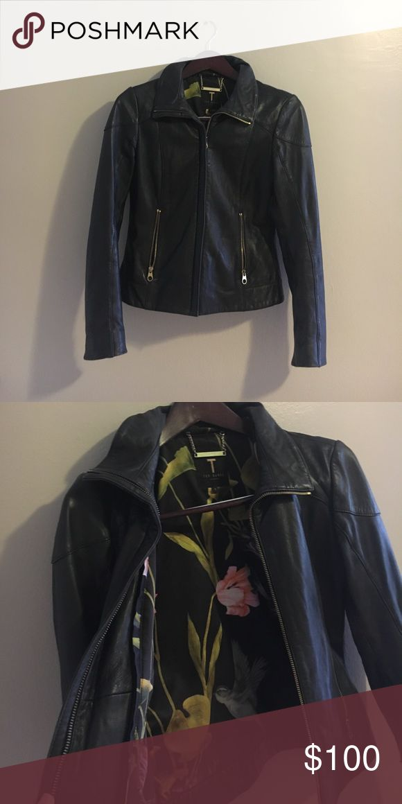 Ted baker leather jacket Ted baker leather jacket with gold zippers and floral inside lining - ted baker size 1 Ted Baker Jackets & Coats