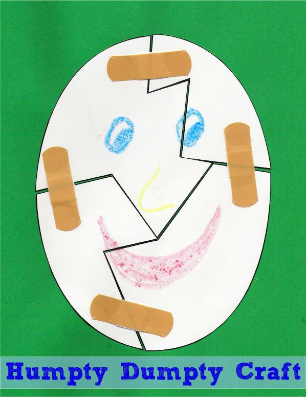 Humpty Dumpty craft: help put him together again Activities for Nursery Rhyme week - 6/16/13 - 6/22/13