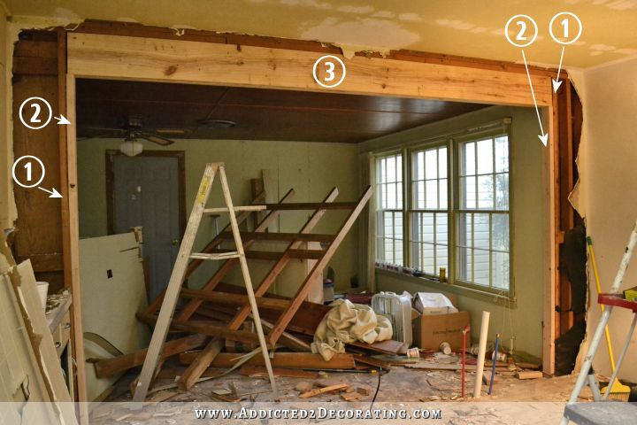 anatomy of a load bearing header - removing a load bearing wall