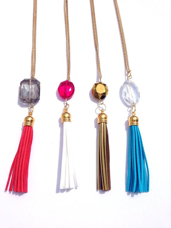 Crystal & Tassel Necklace Leather Suede by LuELsDecor on ...