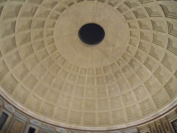The builders of the Pantheon created a hole in the top, which made the complete building more elastic, so that it could withstand minor earthquakes. The walls also got thinner the higher they got, so that the building wasn't top-heavy. This al together made sure the building is still completely intact after thousands of years.