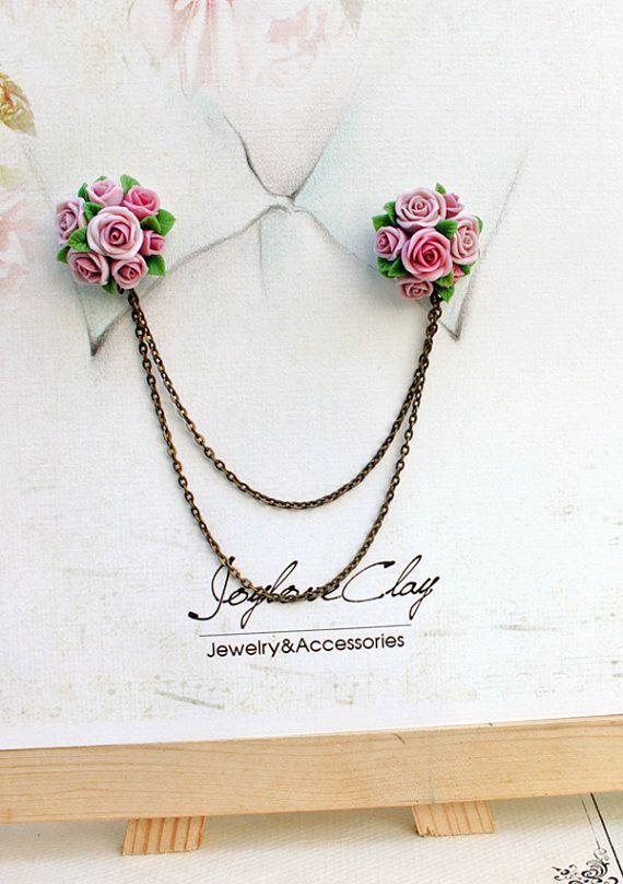 pink rose collar tips collar brooch handmade rose by Joyloveclay, $32.00