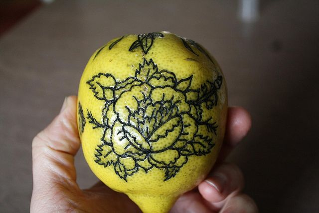 When beginning a tattoo apprenticeship, fruits are usually practiced on before skin.  And also, these just look cool.