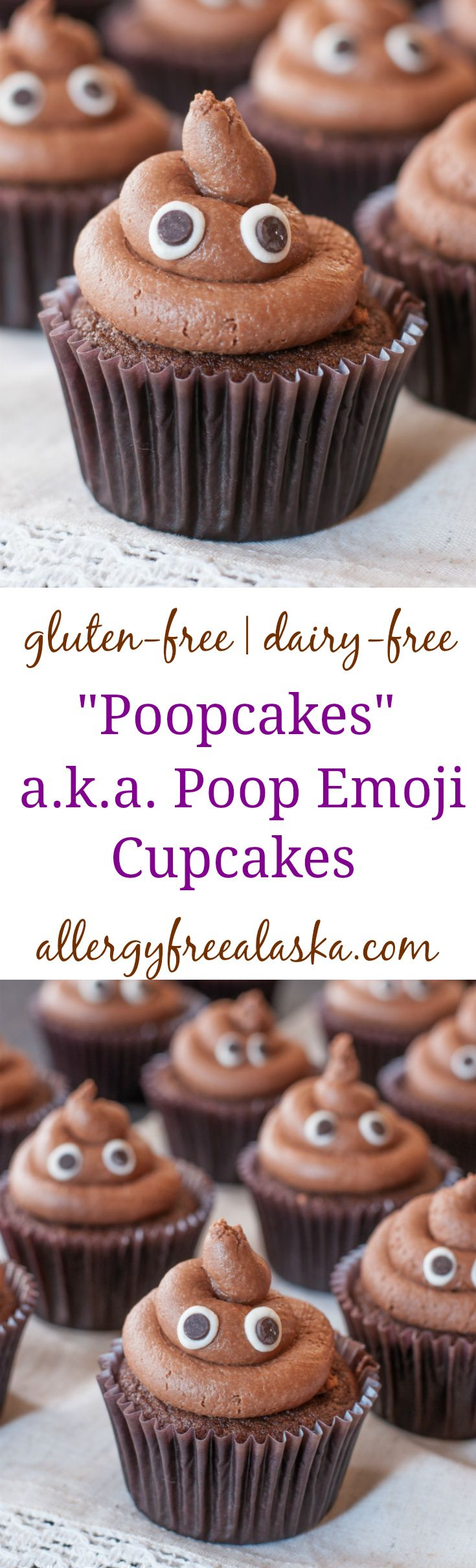"""These Gluten Free """"Poopcakes"""" Poop Emoji Cupcakes are a fun and delicious take on the poop emoji icon. They will be a hit at your next party and will most likely spark some silly conversations!"""