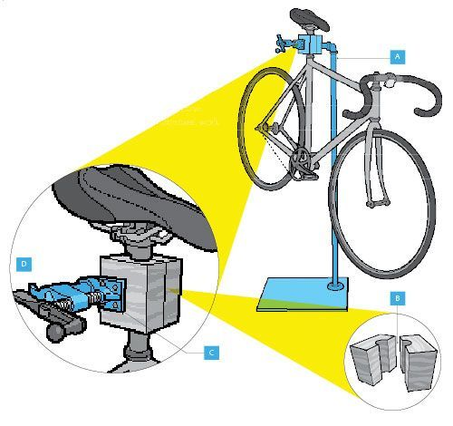 Your $30 Hardware Store Stand  http://www.bicycling.com/repair-maintenance/your-30-hardware-store-stand