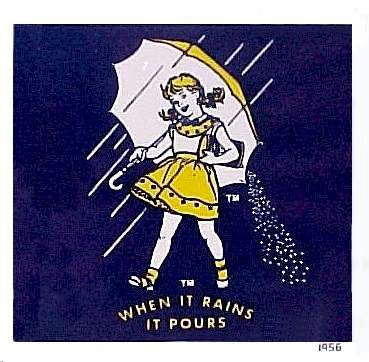 Her hairstyle is different, and no raincoat, so I guess our Morton Salt girl wasn't the original-this one was.
