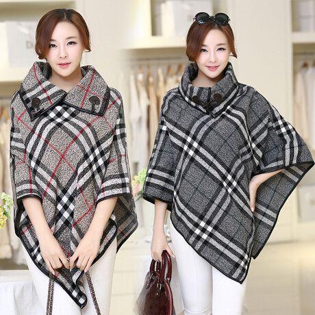 2014 moda de invierno de lana mujeres de moda abrigo trench de lana del cabo más tamaño mujeres capas y ponchos elegante abrigo a cuadros en Lana y Mezcla de Moda y Complementos Mujer en AliExpress.com   Alibaba Group