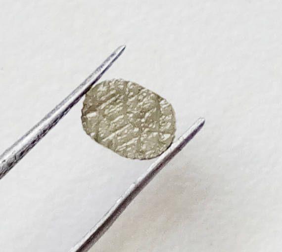 1 Pc Grey Yellow Diamond Oval Slice Rare Unique Natural Laser