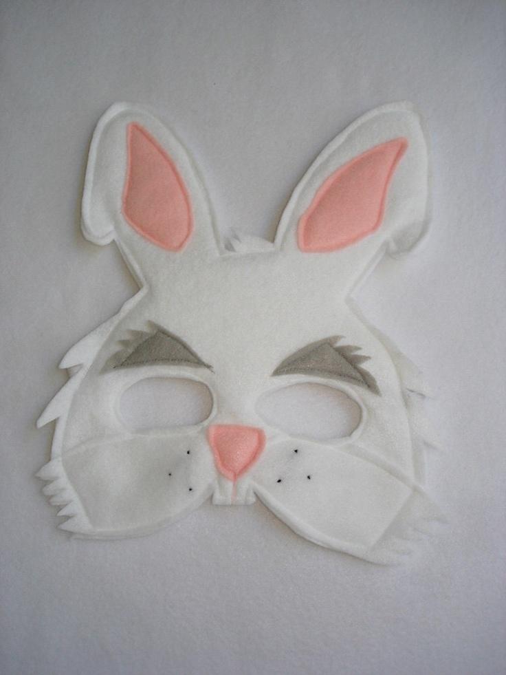Children's White RABBIT Felt Mask. $12.50, via Etsy.