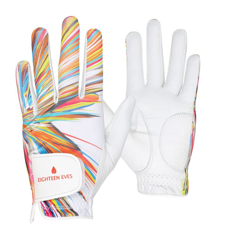 This ladies golf glove is fashioneered with a flexible back, allowing your grip to form easily. The palm is made from soft Cabretta leather that acts like a second skin, giving your hands enough protection without compromising the connection of your swing. Material: Cabretta Leather with Lycra Back Style: Rainbow Hand: Left and right Size: XS – XL