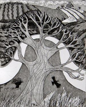 """""""Bend in the River"""" by Carry Akroyd (etching)"""