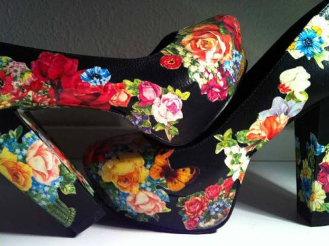 Crafty Lady Abby: MULTI-TUTORIALS: Shoe Makeovers - Covering with Fabric, Lace, and Paper
