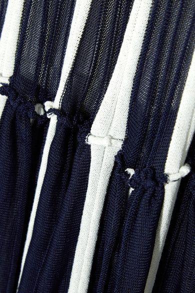 Chloé - Pleated Stretch-knit Maxi Skirt - Navy - x small