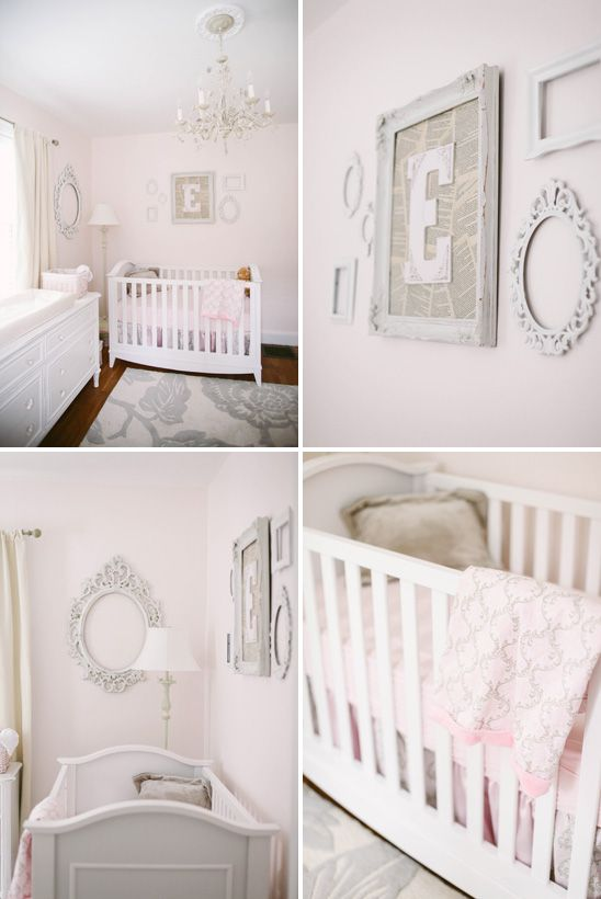 Frame wall with center frame by Paint it White, surrounding frames by Rusticart on Etsy; crib Franklin + Ben; bedding by Carousel Bedding, rug by Target, room design by Hillary at Brocade Designs; photo by Jenna Henderson