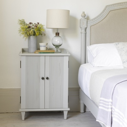 MAUDE BEDSIDE TABLE Its French. Its grey. And we all want one. Unlike all that high street gubbins with yucky lacquered finishes, each one goes through a 7-step process to get the right matt and vintage look thats full of character.