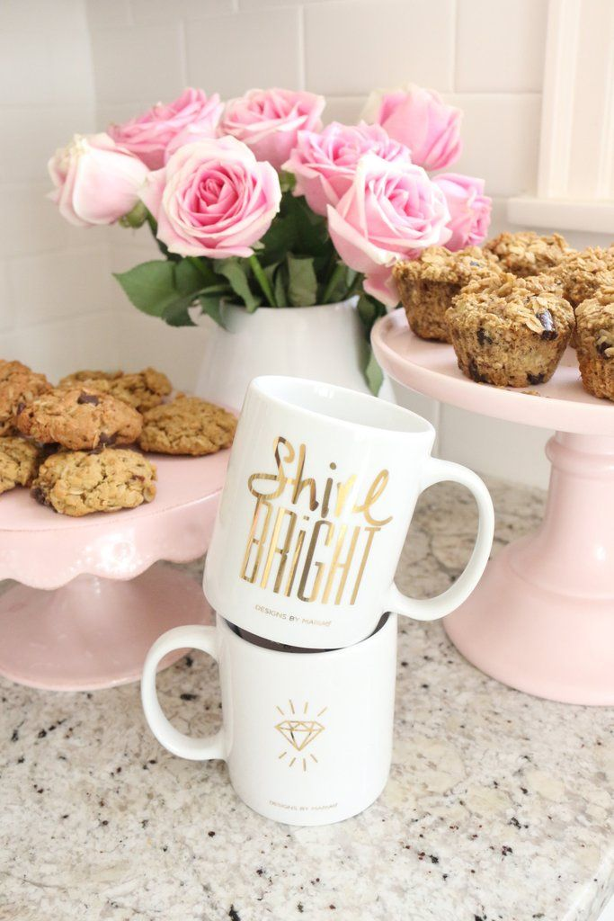 """Add some shine to your day with our SHINE BRIGHT 22K Gold Mug. On the back is a 22K gold diamond pic. How glam is that? A fancy reminder that you are fab and to always """"Shine bright like a diamond""""! """""""