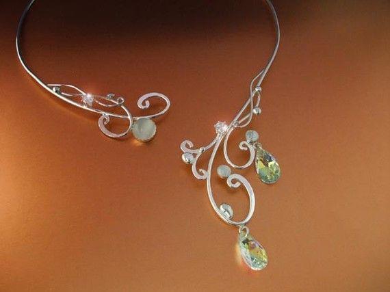 Moonlight Torc Necklace Silver Sterling Celtic Magic Fairy Elven Renaissance Medieval Wedding Bridal