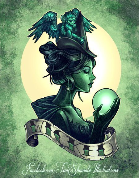 Wicked Witch pinup pin-up tattoo by Tim Shumate