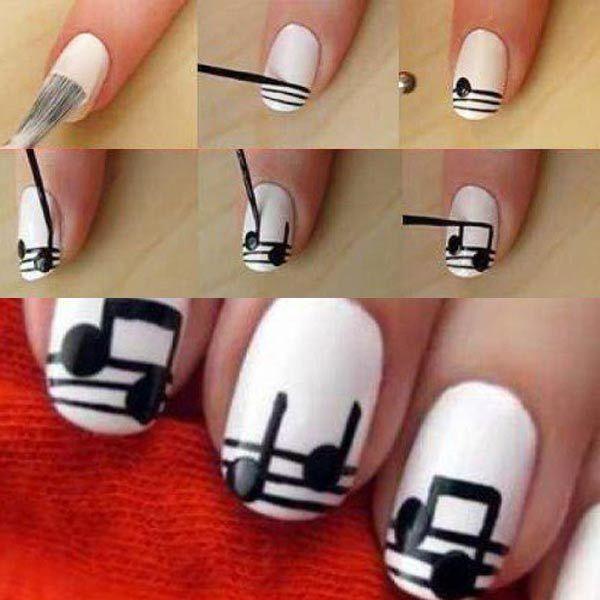 Diseños para uñas paso a paso con esmalte, diseño para uñas paso a paso notas musicales.   #uñas #nails #uñasbonitas